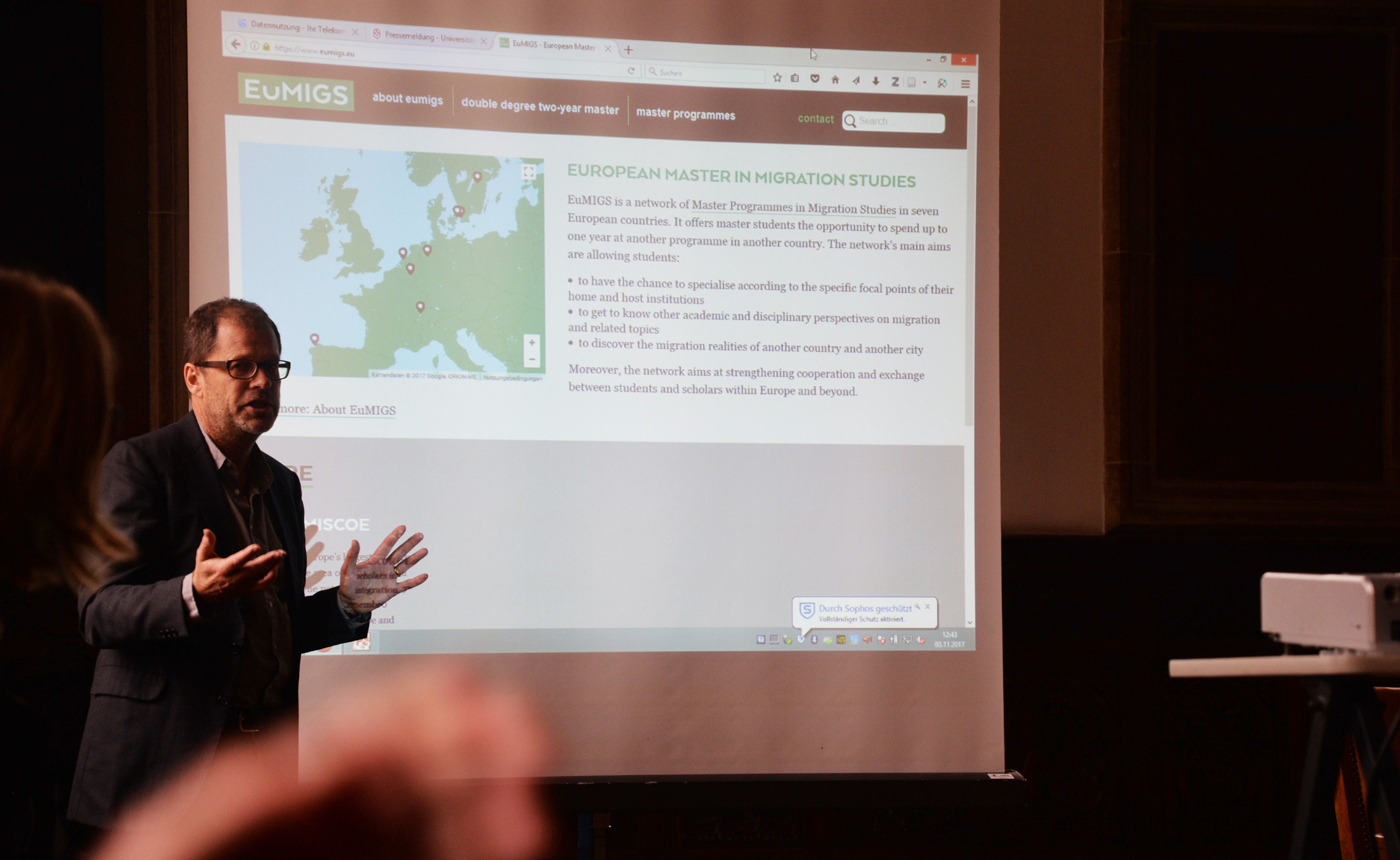 Jens Schneider launching the EuMIGS website